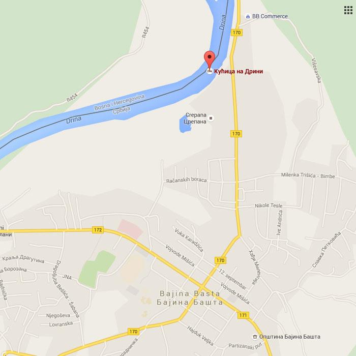 mapa gde se nalazi kućica na Drini