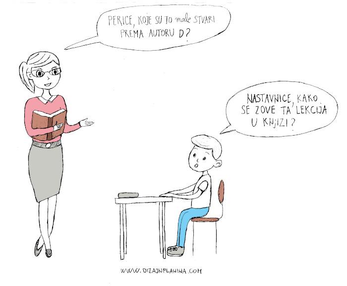 Nastavnica pita Pericu koje su to male stvari?